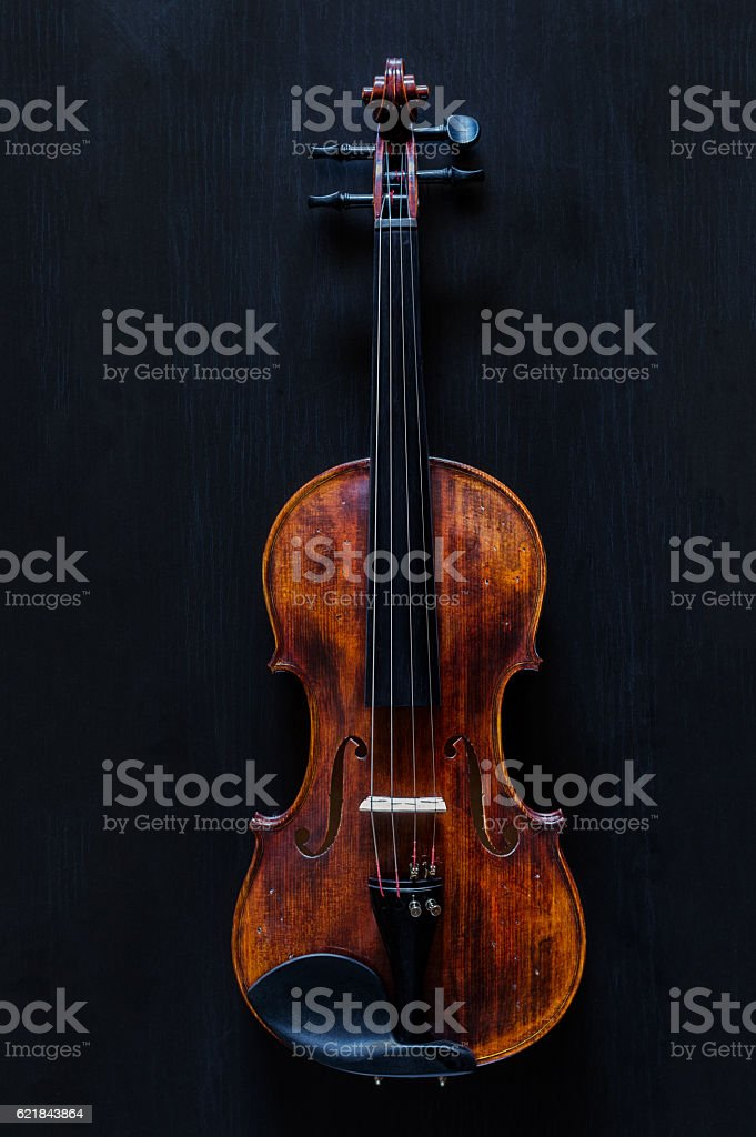 Wooden Vintage Classic Violin stock photo