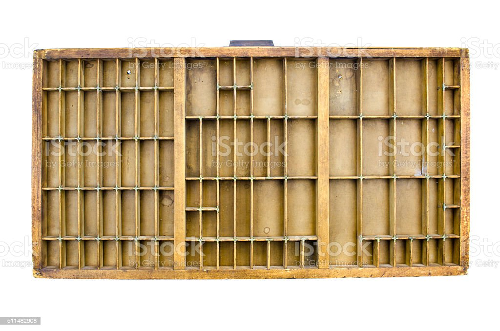 Wooden vintage partitioned drawer shelf stock photo