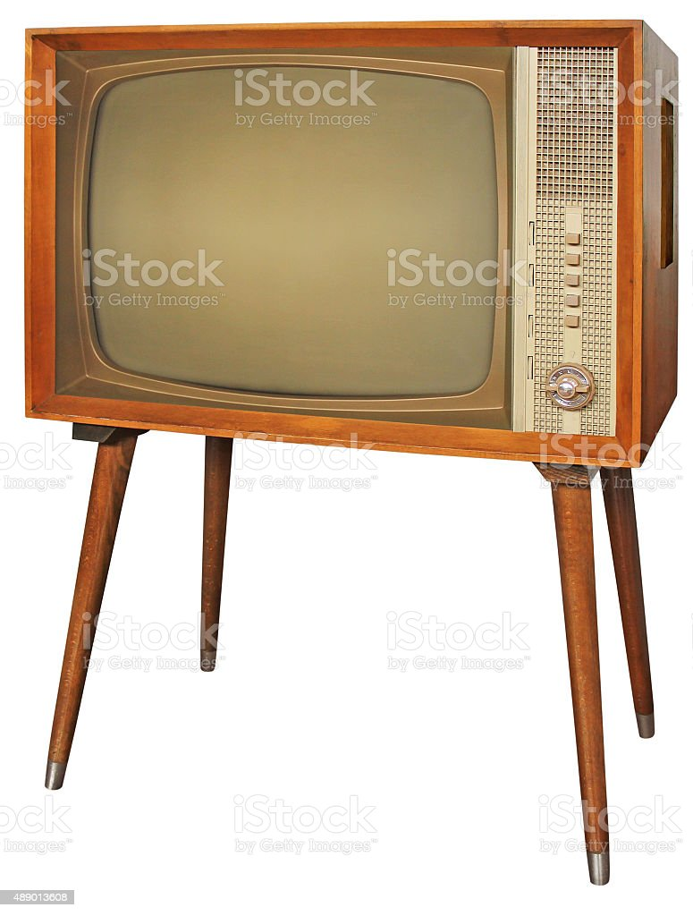 Wooden vintage television stock photo