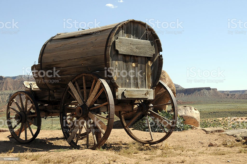 Wooden wagon in the Wild West royalty-free stock photo