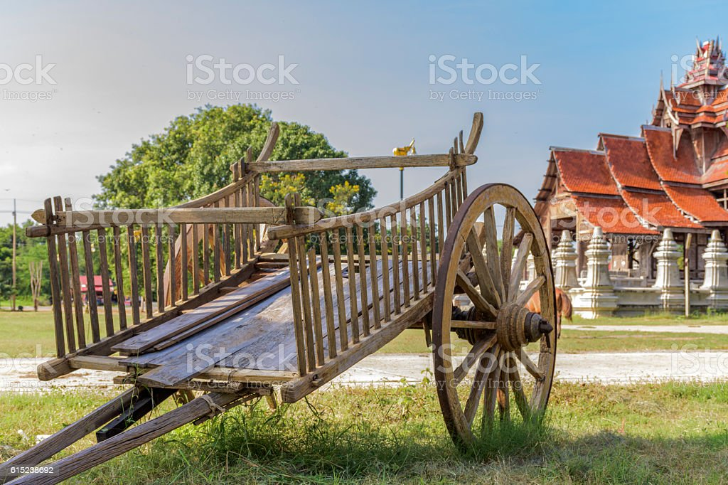 Wooden wagon Thailand rural in agriculture life stock photo