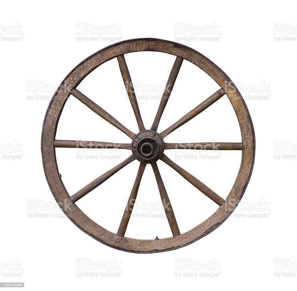 Wooden wagon wheel isolated on white background stock photo