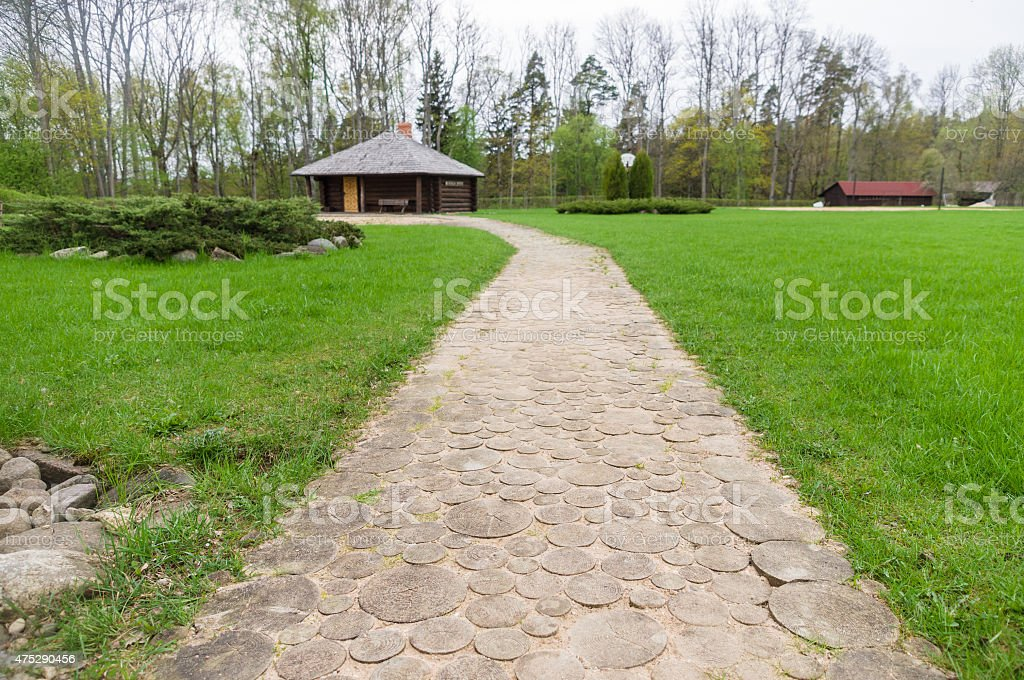 Wooden walk path in recreation camping site stock photo