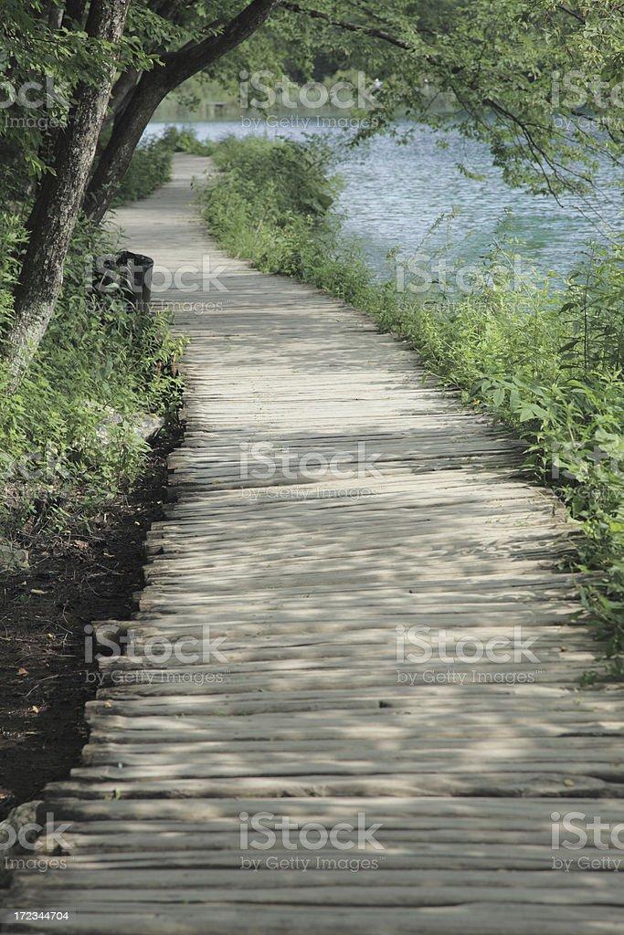 Wooden walkway in Plitvice National Park, Croatia. royalty-free stock photo