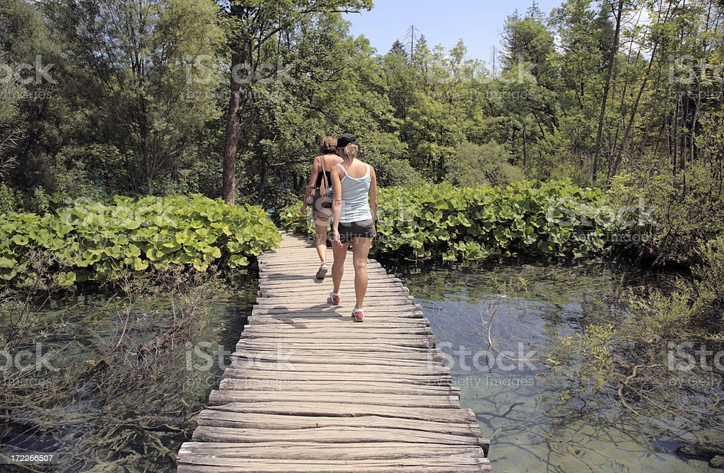 Wooden walkway in Plitvice National Park, Croatia, with hikers. royalty-free stock photo