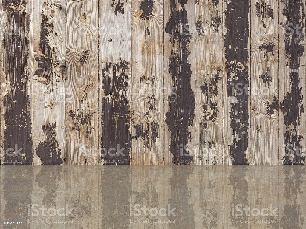 wooden wall and cement floor stock photo