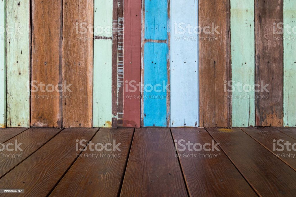 Wooden wall and floor. stock photo