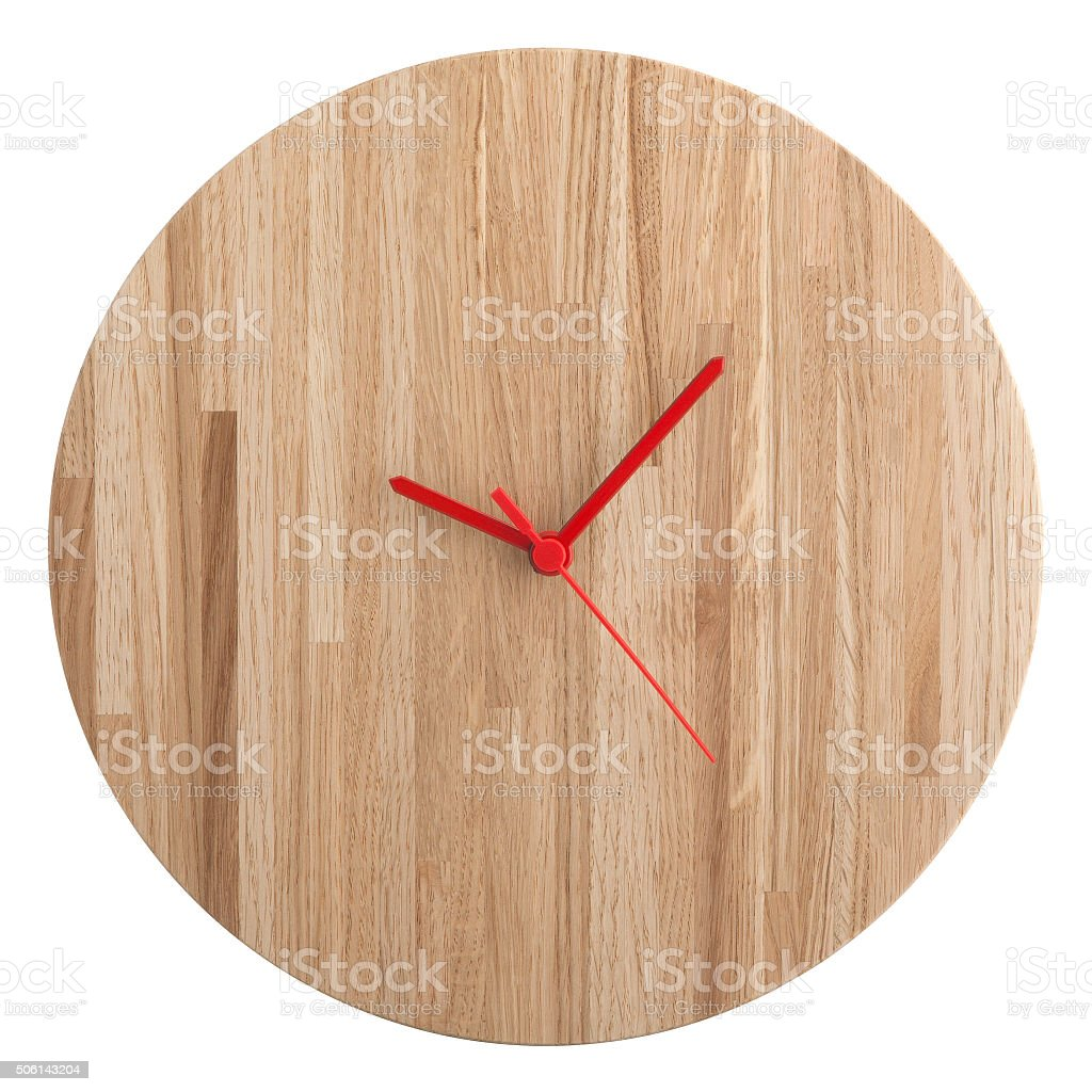 Wooden wall clock isolated on white background stock photo