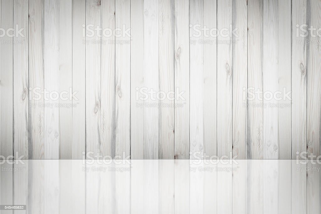 Wooden wall reflected in the mirror. stock photo