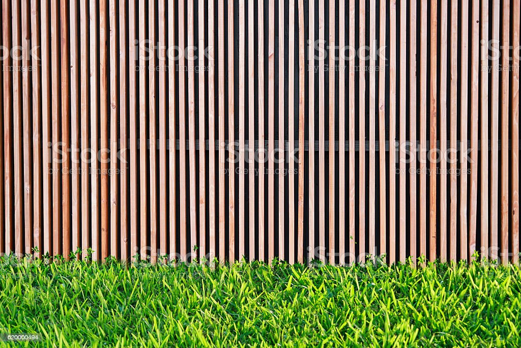 Wooden wall slat with green grass with copy space stock photo