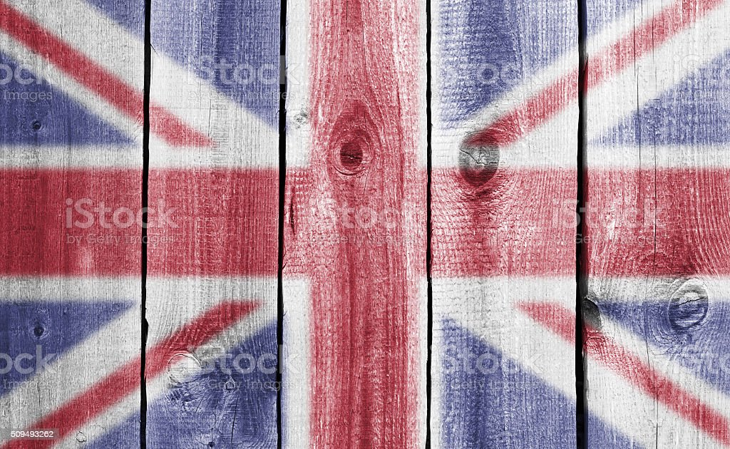 wooden wall with flag stock photo