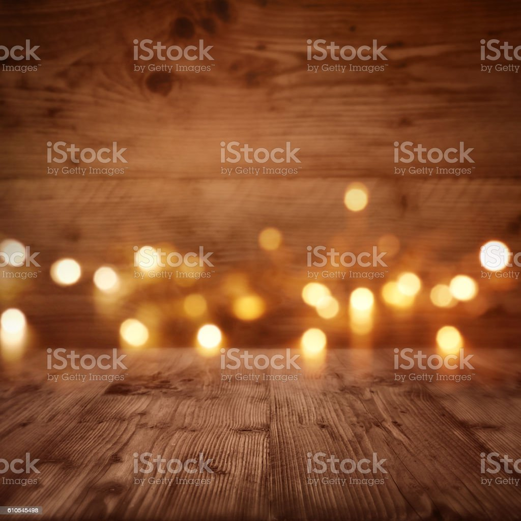 Wooden wall with starlights stock photo