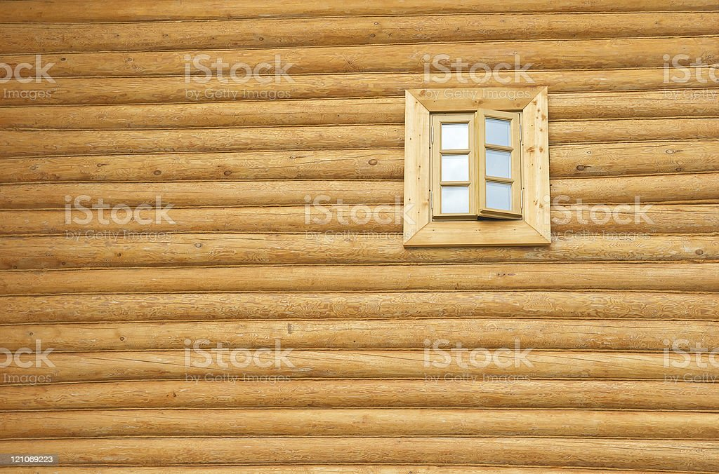Wooden wall with window royalty-free stock photo