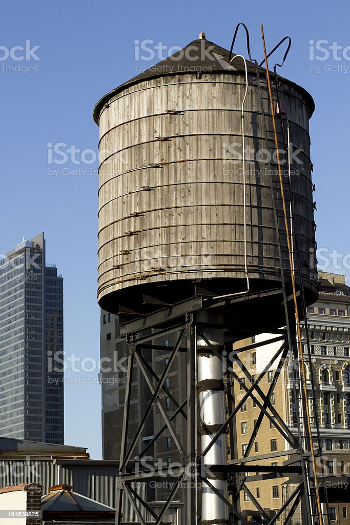 NYC wooden water tank stock photo