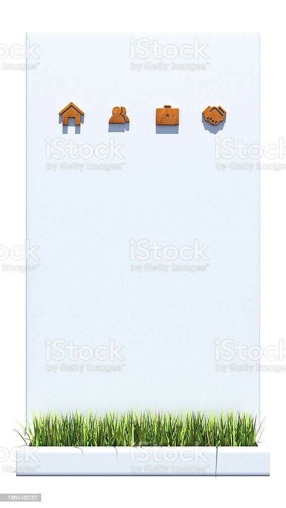 Wooden web icons on concrete wall and green grass royalty-free stock photo