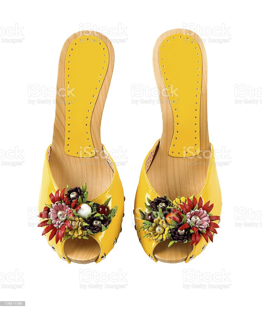 Wooden wedge yellow patent leather artisan fruits and flowers sa stock photo