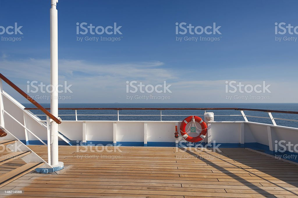 Wooden wharf,buoy and blue Sky royalty-free stock photo