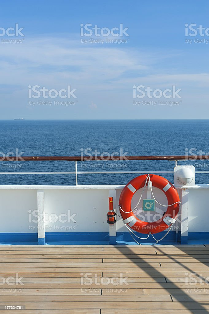 Wooden wharf,buoy and blue Sky stock photo