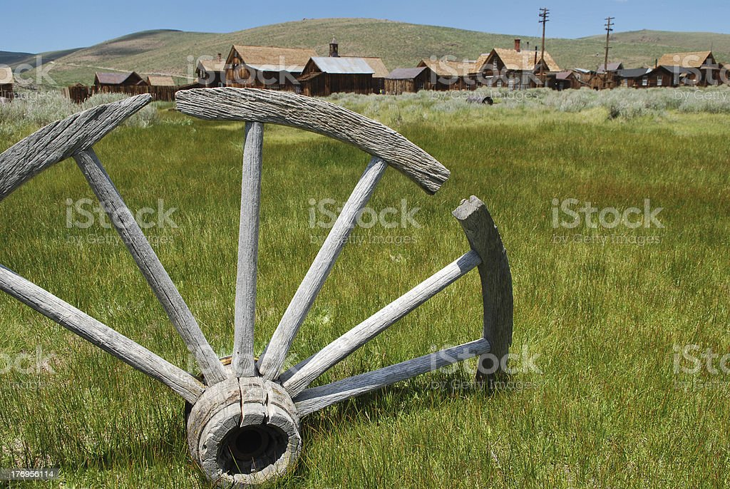Wooden Wheel at Bodie royalty-free stock photo