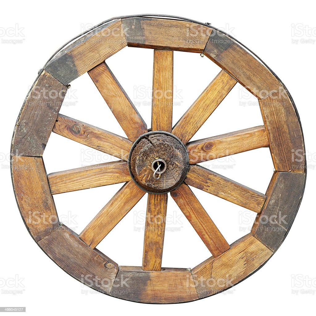 wooden wheel, isolated on white stock photo