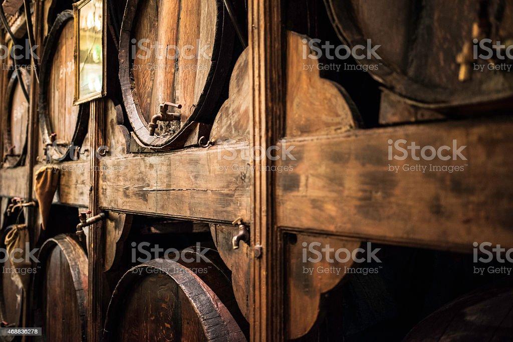 Wooden whiskey barrels stock photo