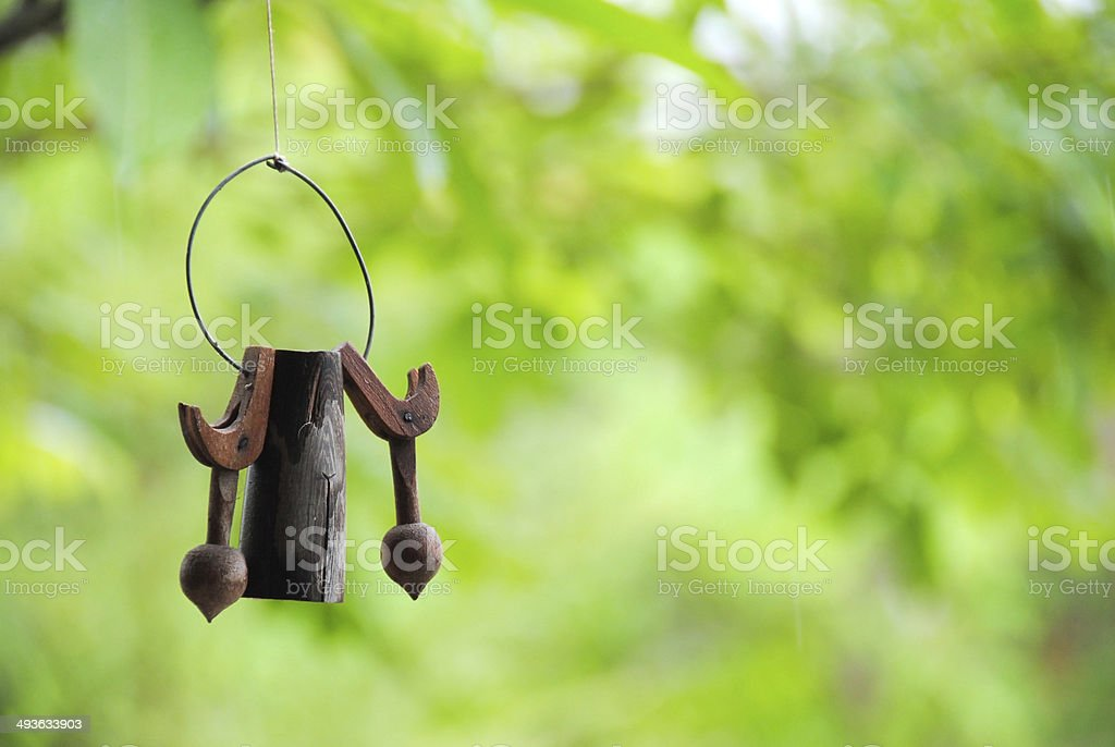 wooden wind chimes stock photo
