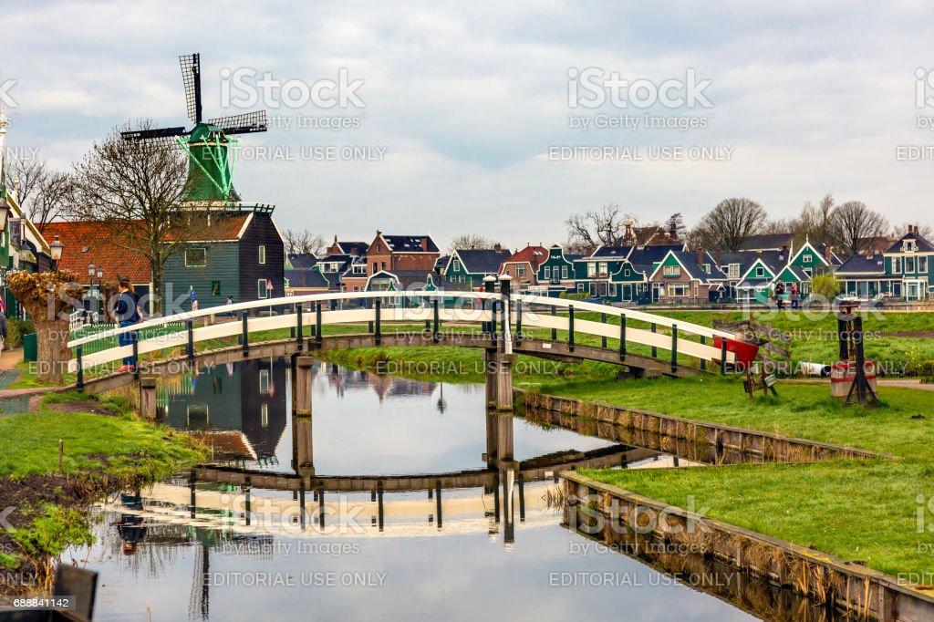 Wooden Windmill White Bridge Zaanse Schans Village Holland Netherlands stock photo