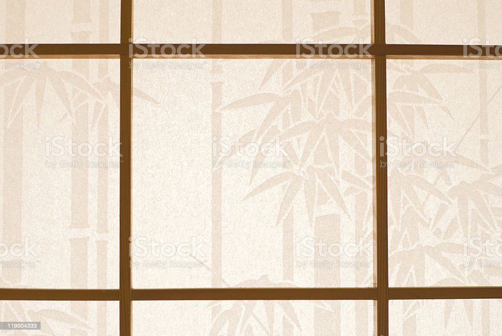 Wooden window and Japanese paper royalty-free stock photo