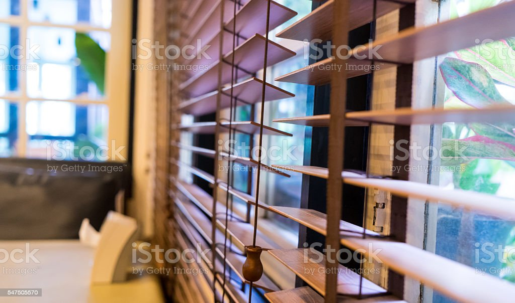 Wooden Window curtain shutter stock photo