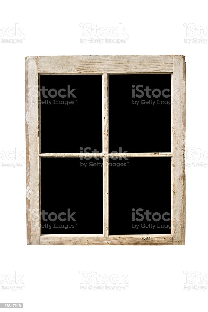 A wooden window frame with 4 panes stock photo
