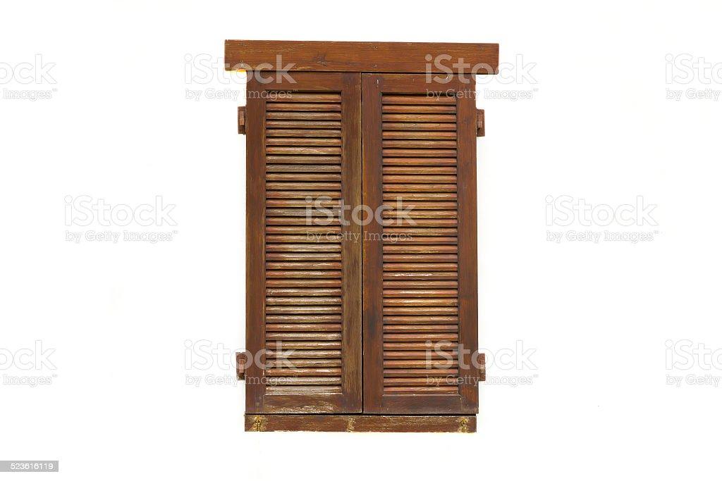 Wooden window isolated on white background stock photo
