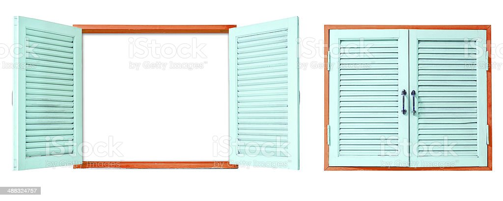 wooden window on isolated royalty-free stock photo