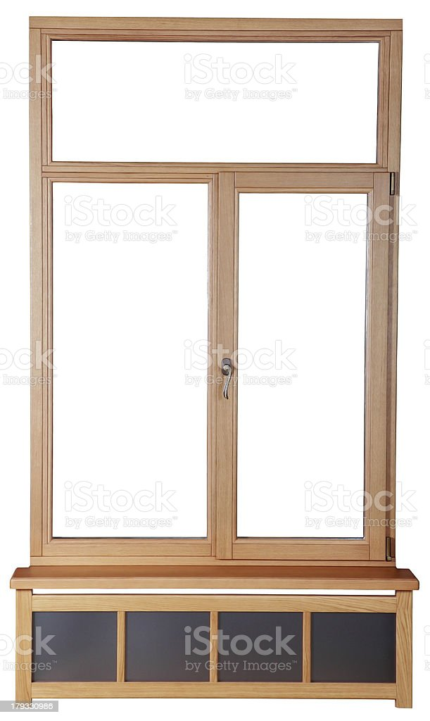 Wooden window with double glazing.  French wood windows stock photo