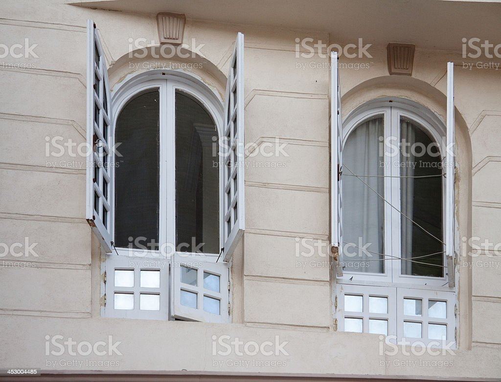Wooden window with half curve stock photo