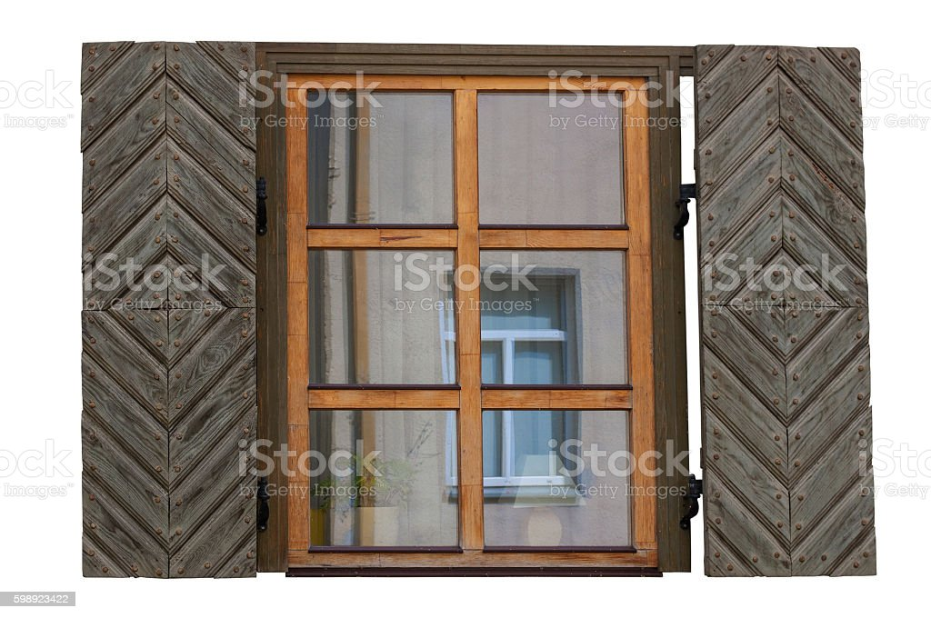 Wooden window with shutters isolated exterior side stock photo