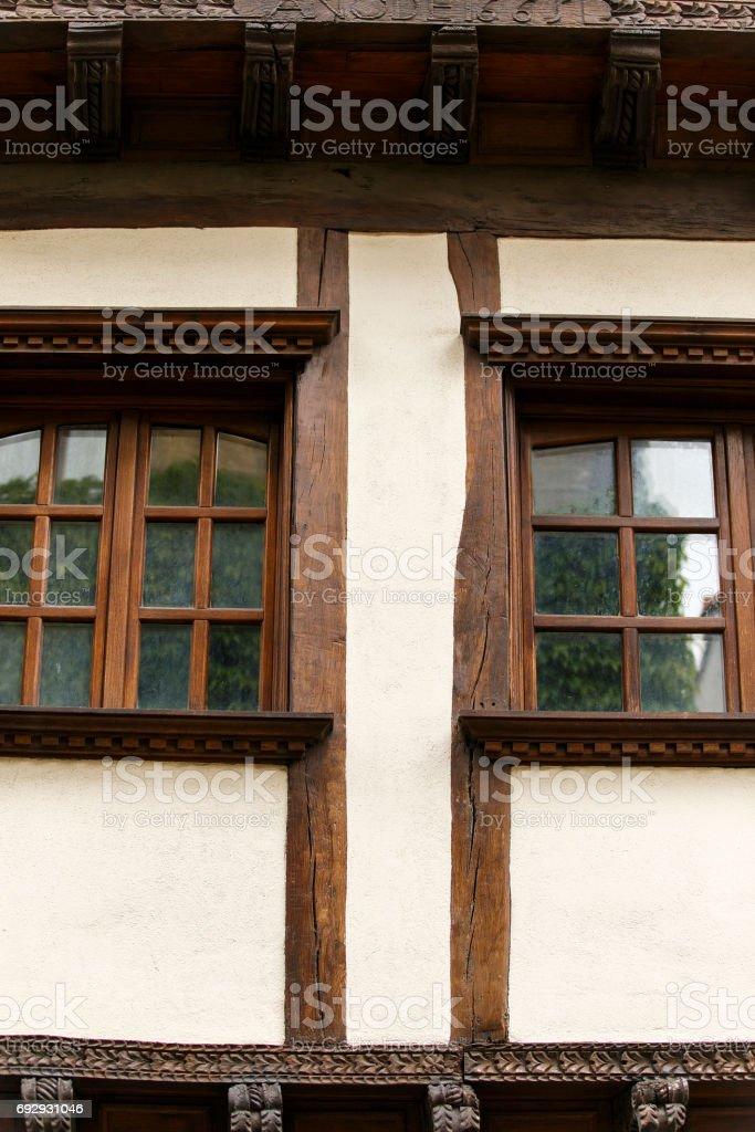 wooden windows, hondarribia-spain stock photo