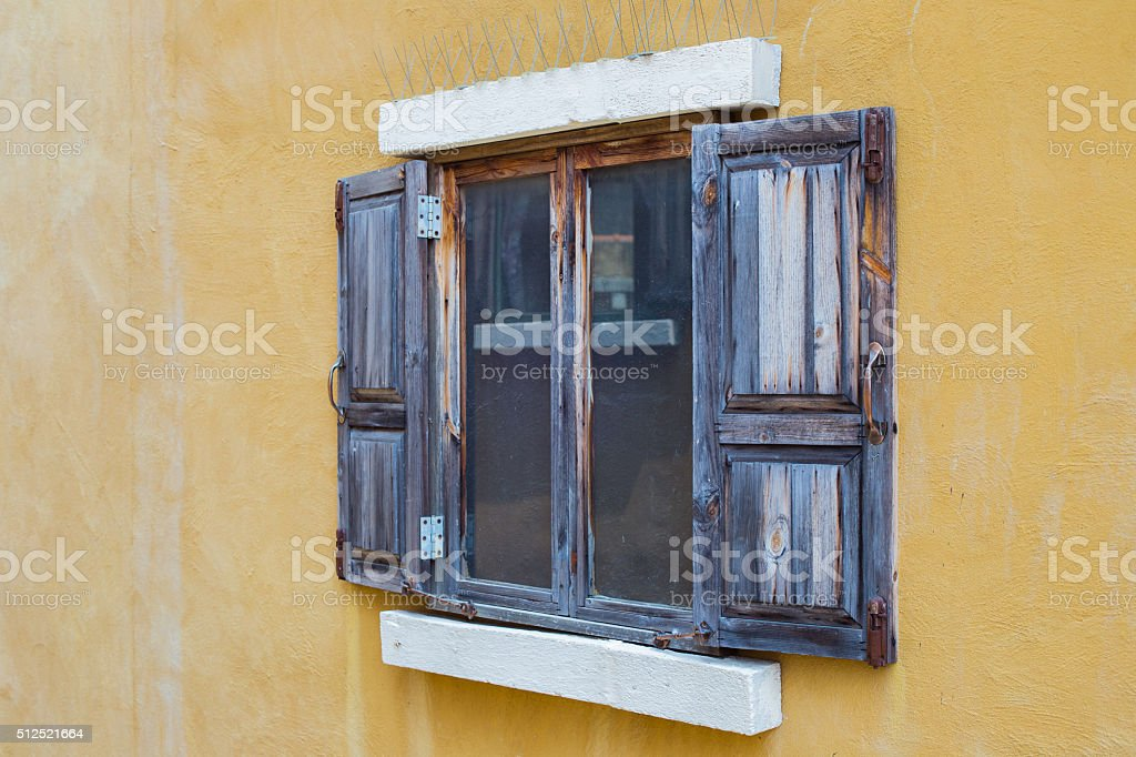 Wooden windows in vintage style. stock photo