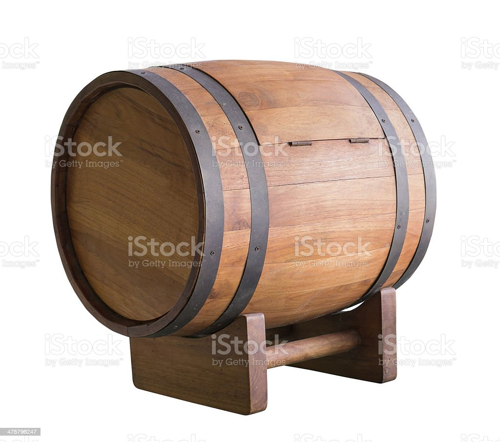 Wooden wine barrel with iron ring stock photo