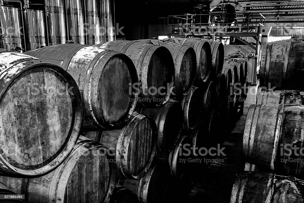 Wooden wine barrels in wine factory stock photo