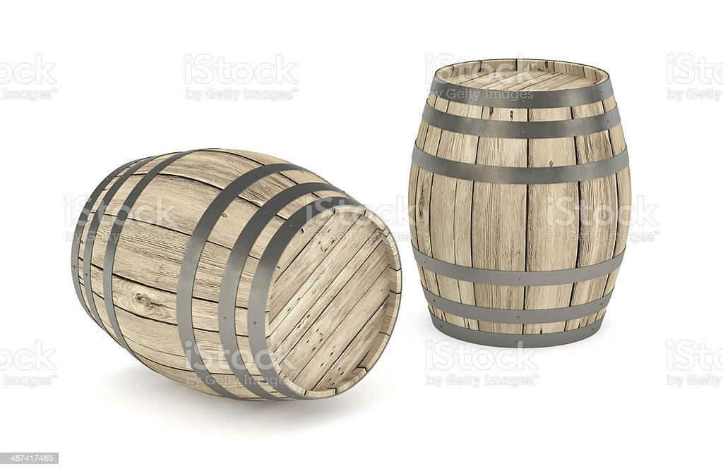 Wooden wine barrels isolated on white stock photo
