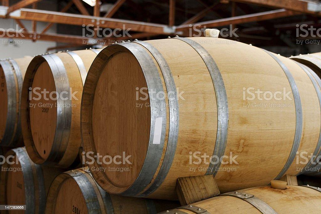 Wooden wine barrels stock photo