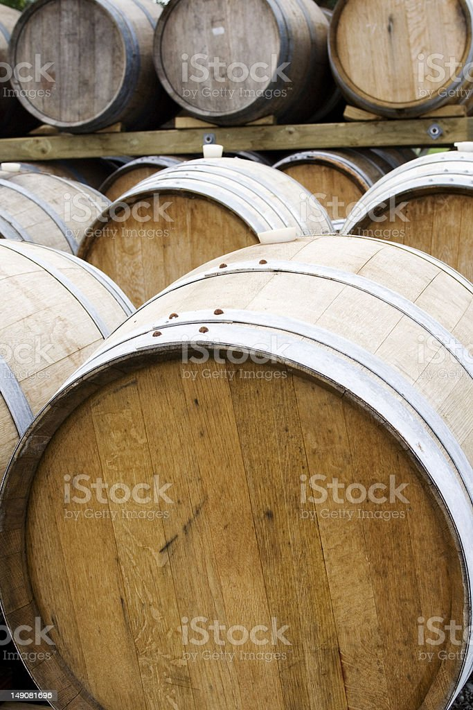 Wooden wine barrels royalty-free stock photo
