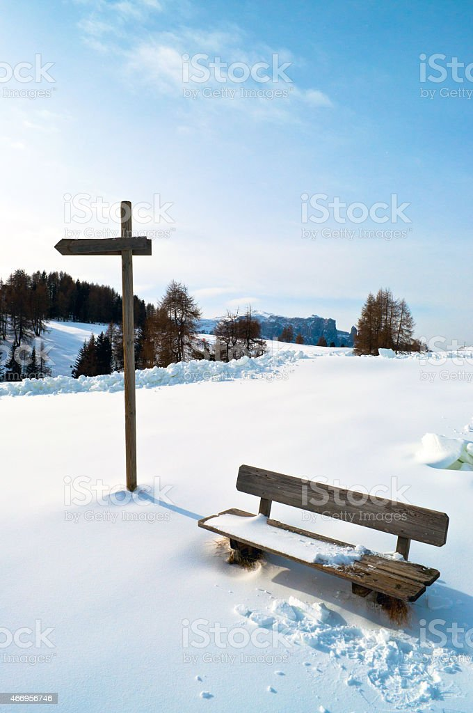Wooden Winter bench with mark trial stock photo