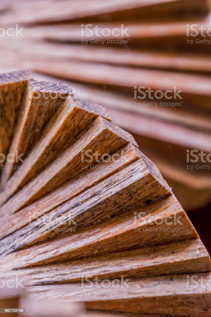 Wooden wood windbell wind chime spiral rotation stock photo