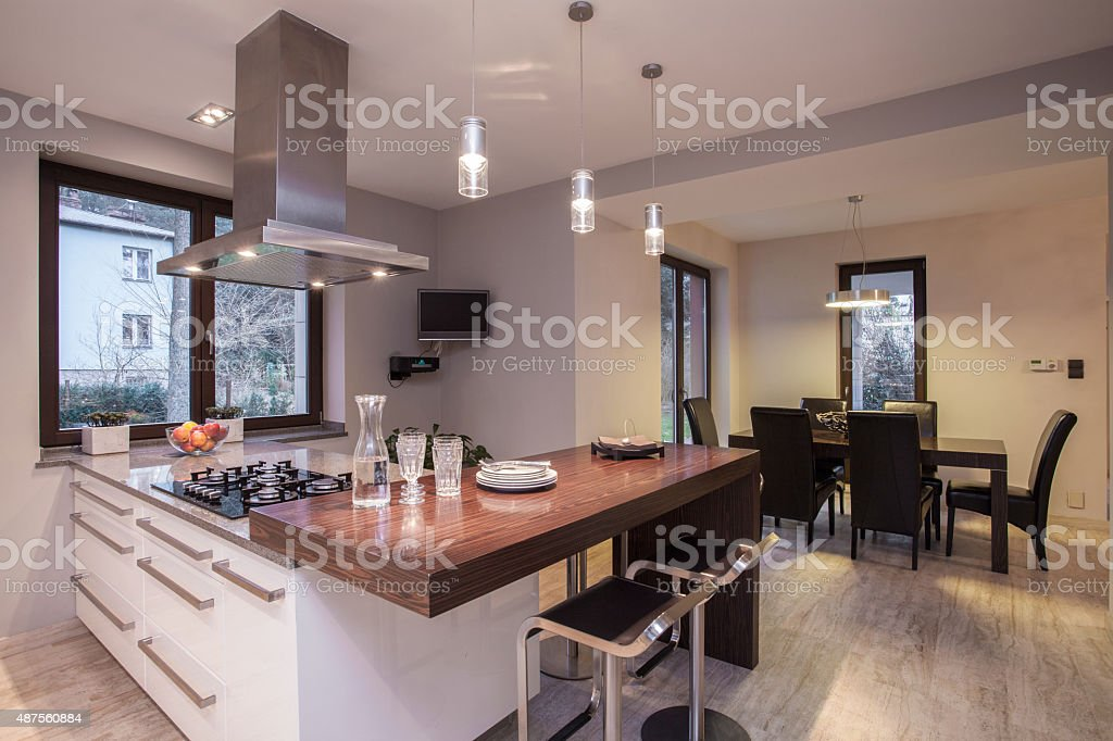 Wooden worktop in luxury kitchen stock photo