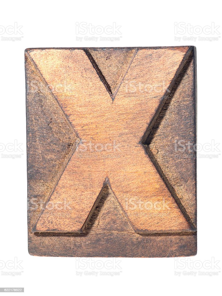 wooden X typeface stock photo