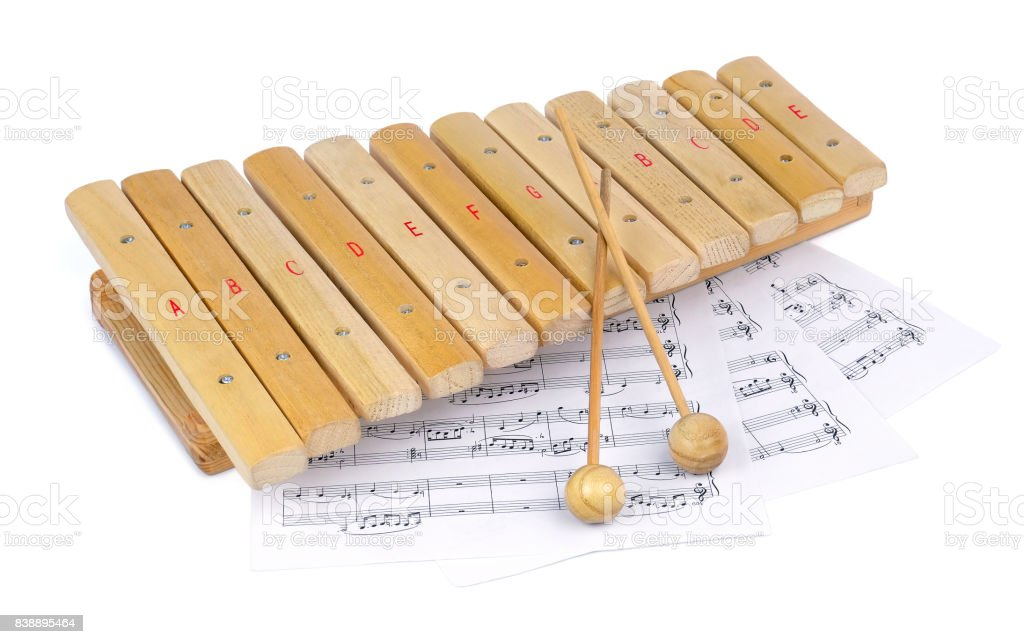 Wooden xylophone and notes stock photo