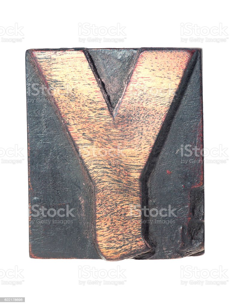 wooden Y typeface stock photo