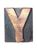 wooden Y typeface