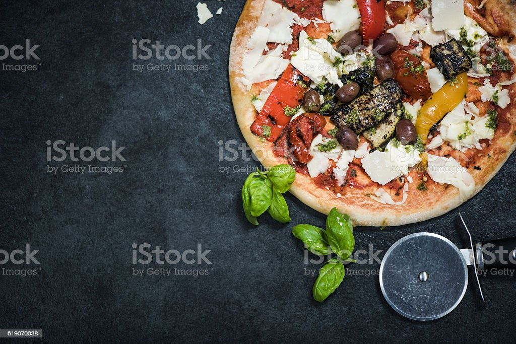 wood-fired traditional Italian pizza stock photo